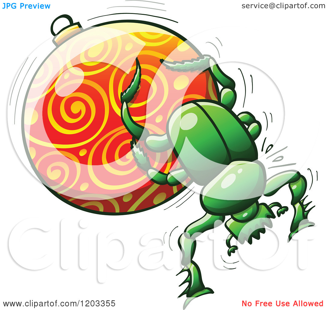Cartoon of a Green Dung Beetle Pushing a Christmas Bauble.