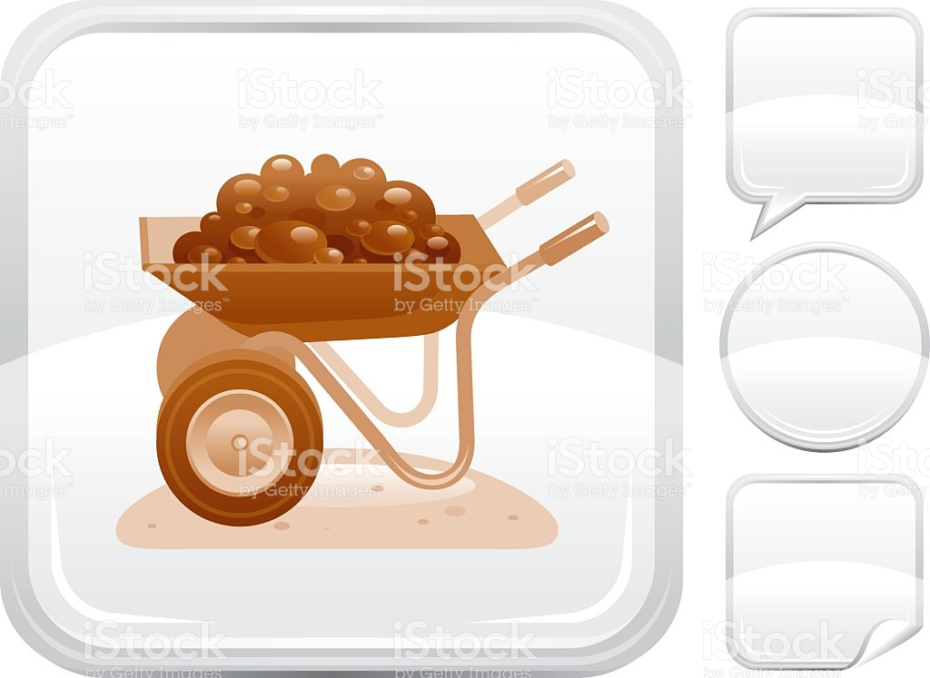 Wheelbarrow With Manure Icon On Silver Button stock vector art.