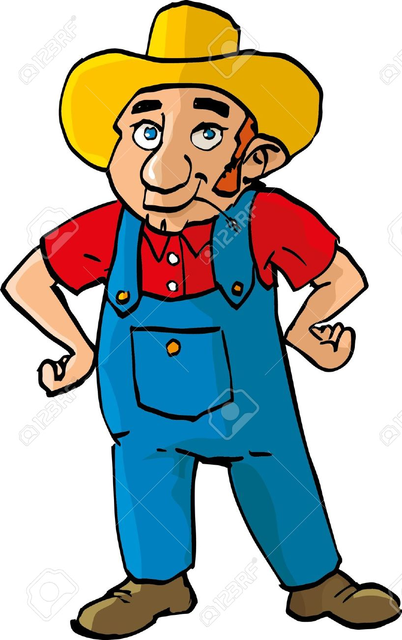 Cartoon Farmer With Dungarees. Isolated On White Royalty Free.