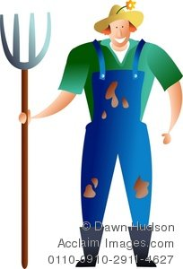 Clipart Illustration of A Farmer Wearing Dungarees.