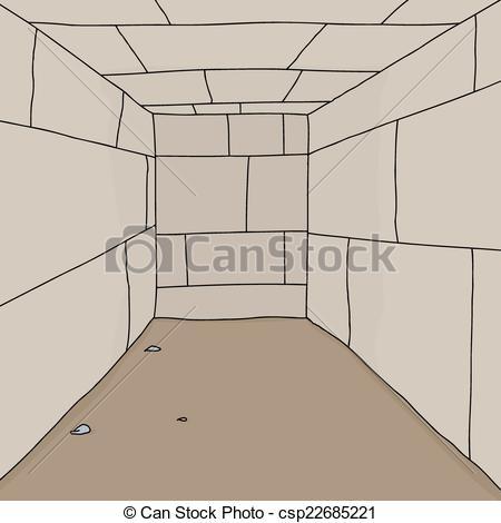 Vector Illustration of Empty Dungeon Room.
