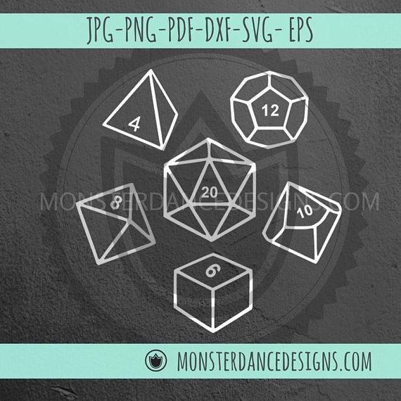 Polyhedral Dice DND Digital File SVG.