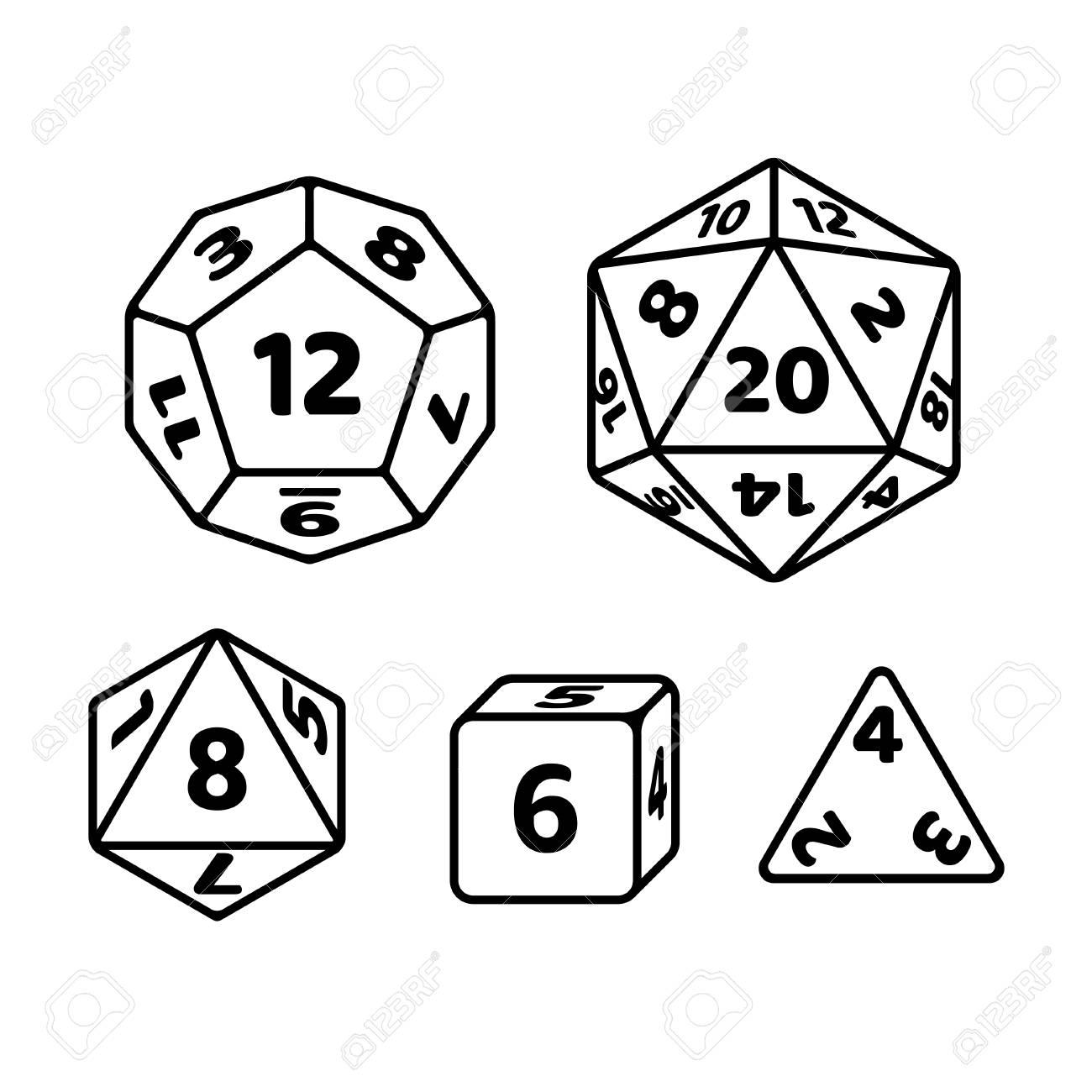 Set of polyhedron dice for fantasy RPG tabletop games. d20, d12,...