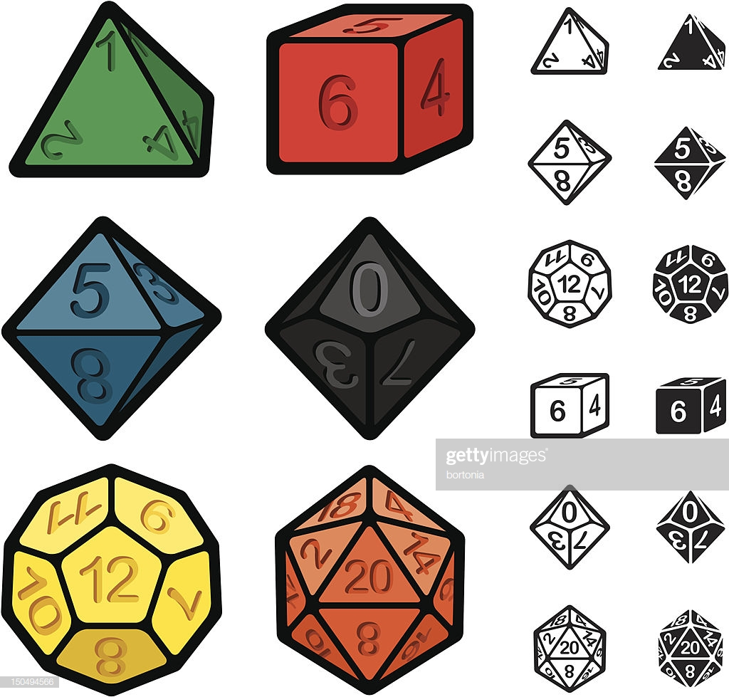 Roleplaying Games Polyhedral Dice Set stock illustration.