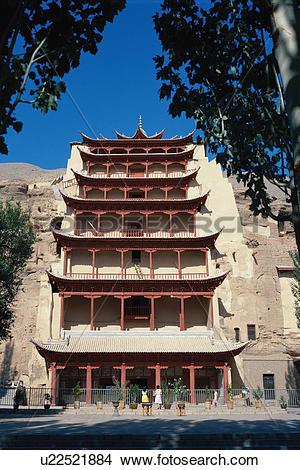 Stock Photo of Close shot of Dunhuang Grotto,Gansu u22521884.