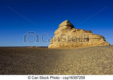 Stock Images of unique yadan earth surface in the Gobi Desert in.