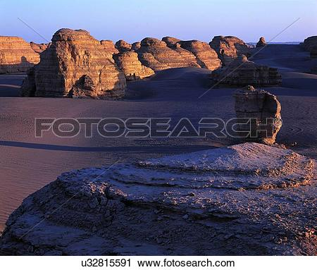Stock Photography of the Ghost City of Dunhuang,Gansu Province.