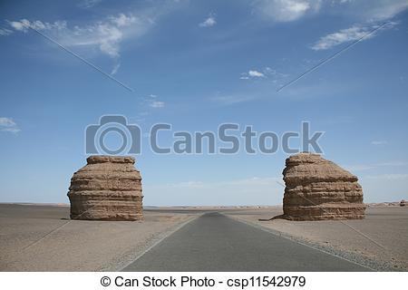 Picture of unique stone gate in yadan landforms dunhuang china.