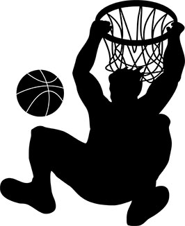 Basketball dunk clipart.