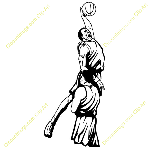 Basketball player shooting clip art.