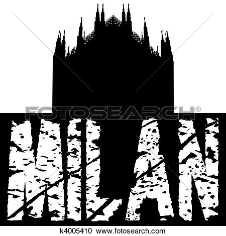 Stock Illustrations of Duomo Milan with grunge text k4005410.