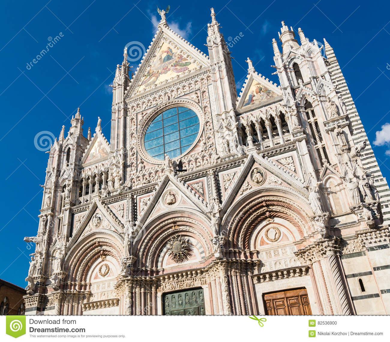 Facade Of Siena Dome Duomo Di Siena Stock Photo.