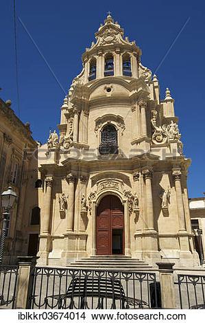 "Stock Photo of ""Church San Giorgio and Piazza Duomo square, Ragusa."