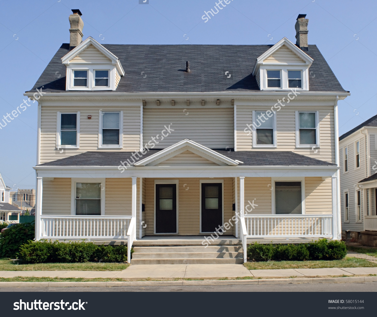 Typical Midwest Duplex House Stock Photo 58015144.
