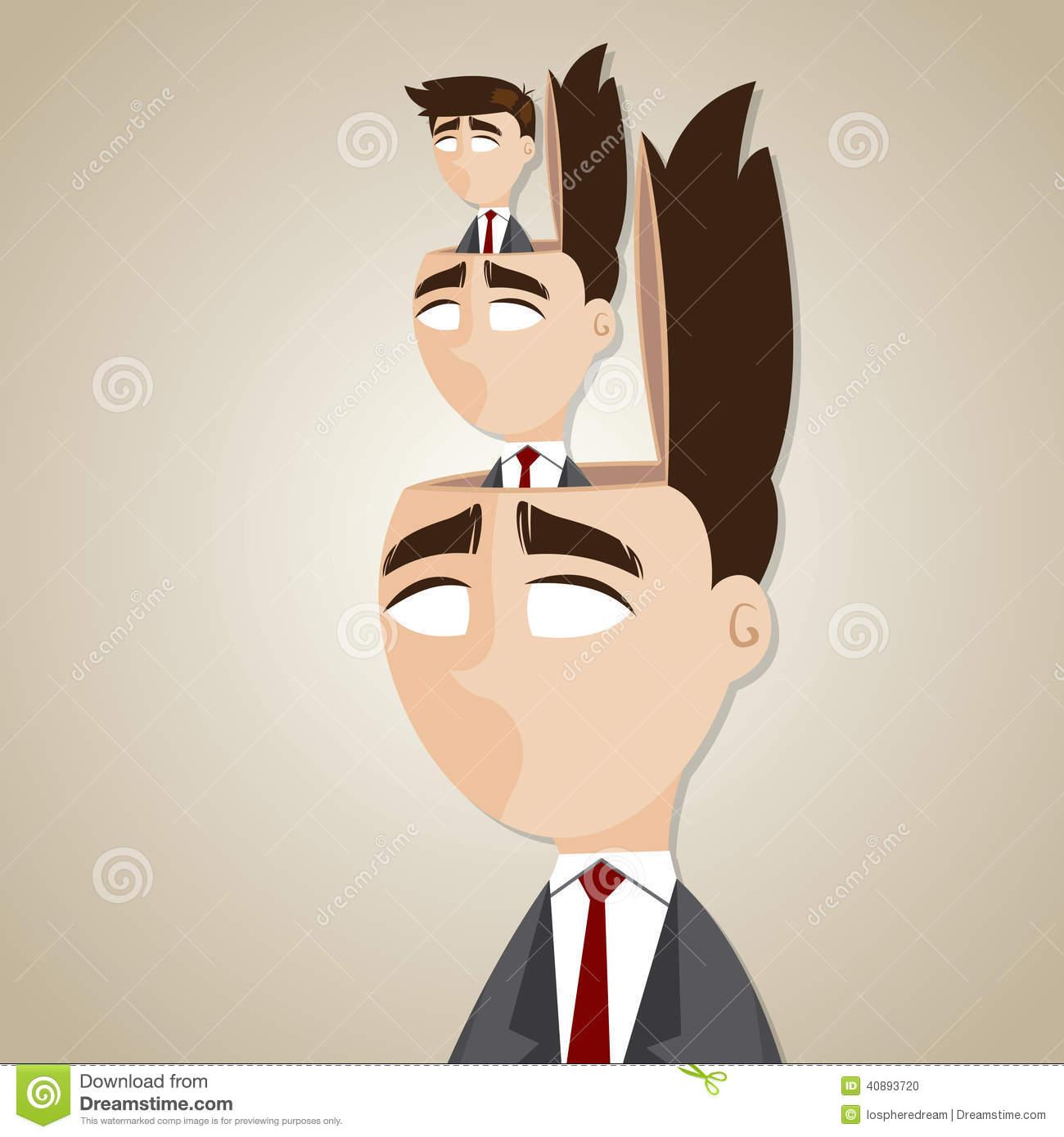 Cartoon Duplicate Businessman In His Head Stock Vector.