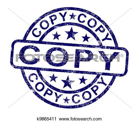 Clipart of Copy Stamp Shows Duplicate Replicate Or Reproduce.