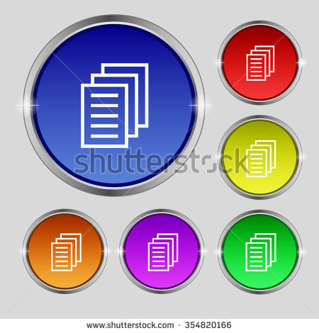 Copy File, Duplicate Document Icon Sign. Round Symbol On Bright.