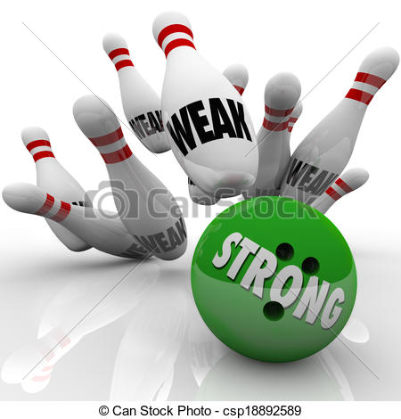 Stock Illustration of Strong Vs Weak Bowling Competitive Advantage.