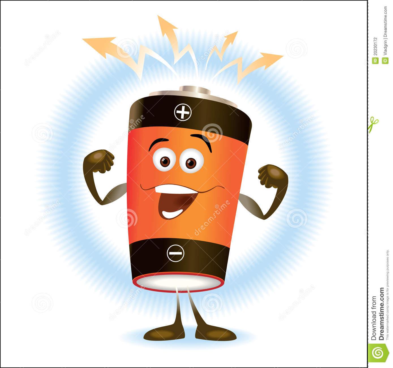 Battery_Cartoon Stock Photography.