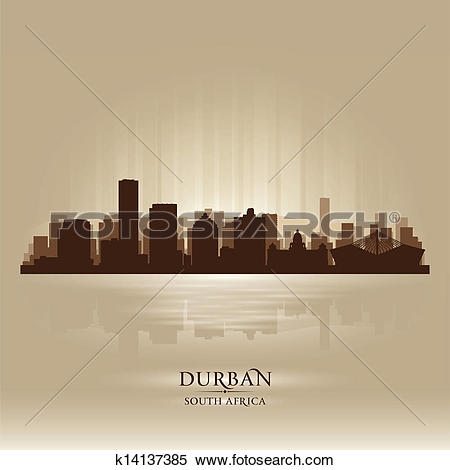 Clipart of Durban South Africa city skyline silhouette k14137385.