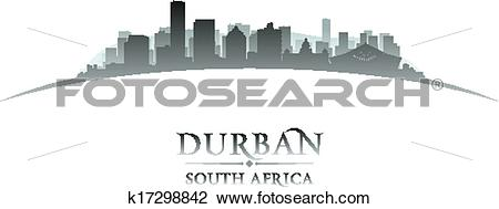 Clipart of Durban South Africa city skyline silhouette white.
