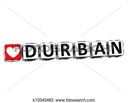 Drawing of 3D Love Durban Button Click Here Block Text k13343463.