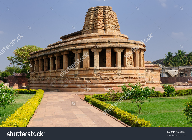 Durga Temple In Aihole Near Badami, Karnataka, India Stock Photo.