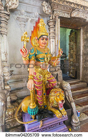 Stock Photograph of Durga goddess statue, Hindu temple Sri.
