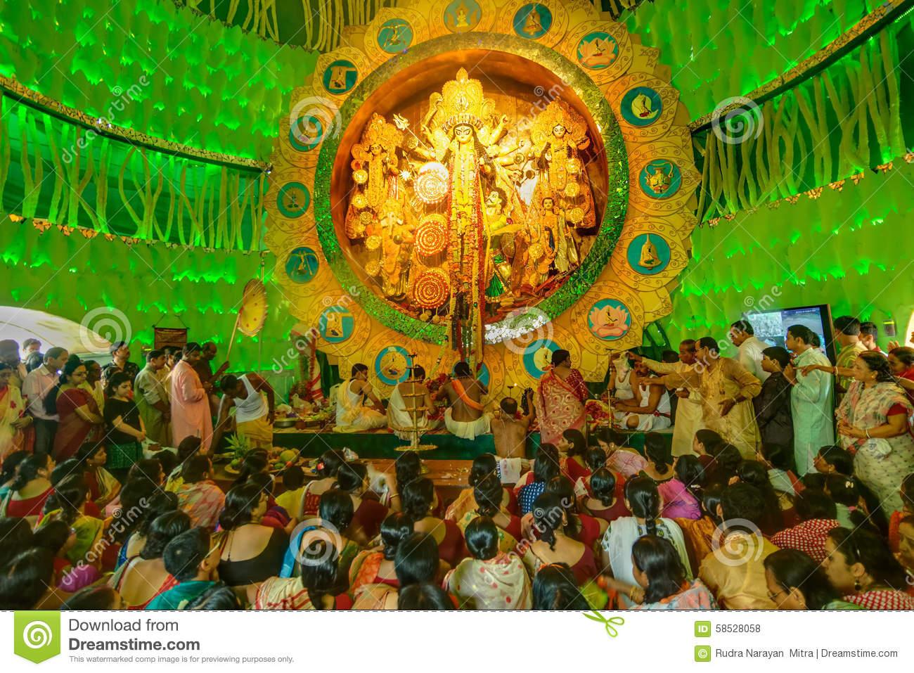 People Enjoying Inside Durga Puja Pandal (decorated Temporary.