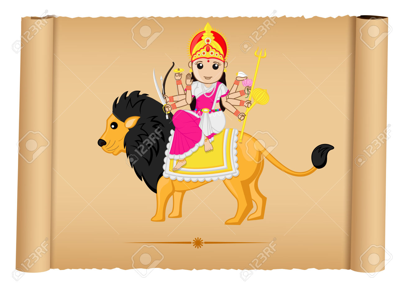 Hindu Goddess Maa Durga Illustration Royalty Free Cliparts.