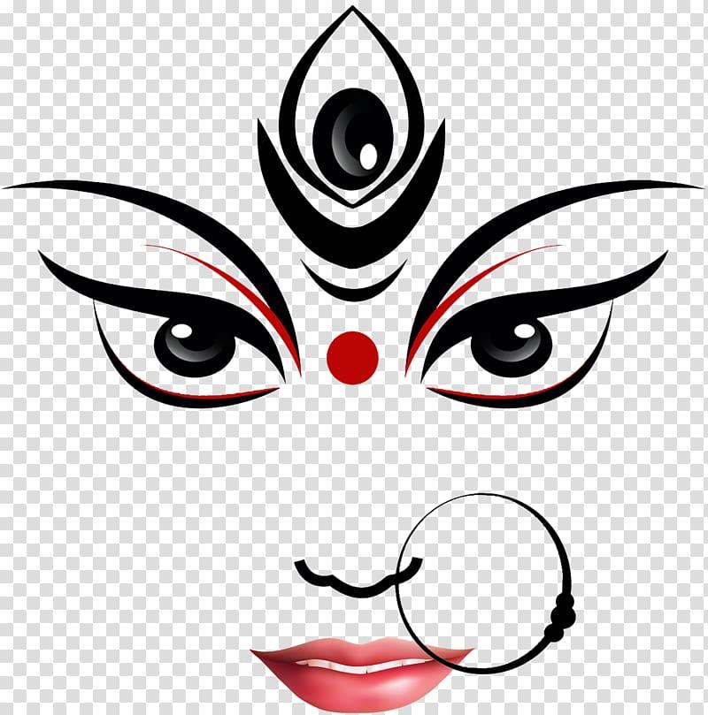 Person face illustration, Durga Puja Kali Ganesha Drawing.