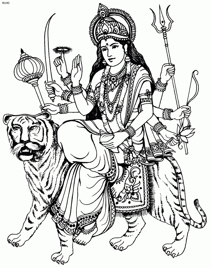Sketches Of Durga Maa Durga Clipart.