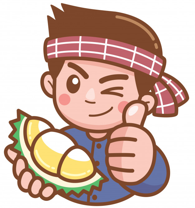 Vector illustration of cartoon durian seller presenting.
