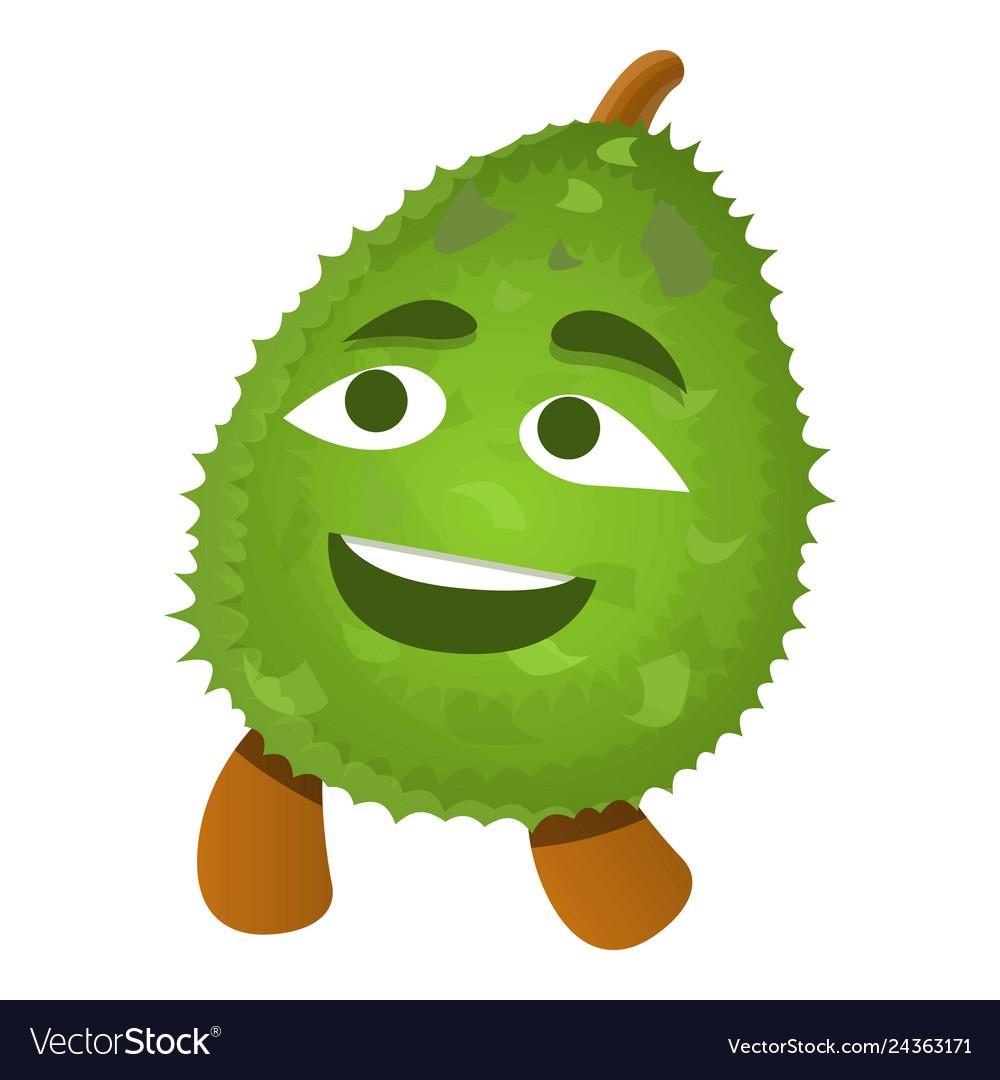 Smile emoji durian logo cartoon style.