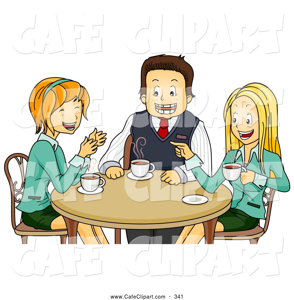 Vector Cartoon Clip Art of a Trio of Happy Colleagues Chatting.