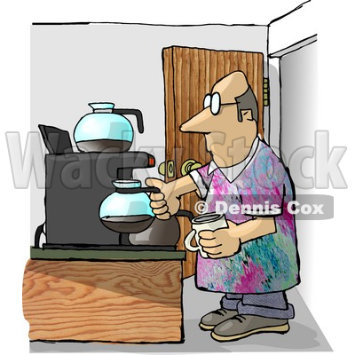 Worker Getting a Cup of Coffee During His Break On Casual Friday.