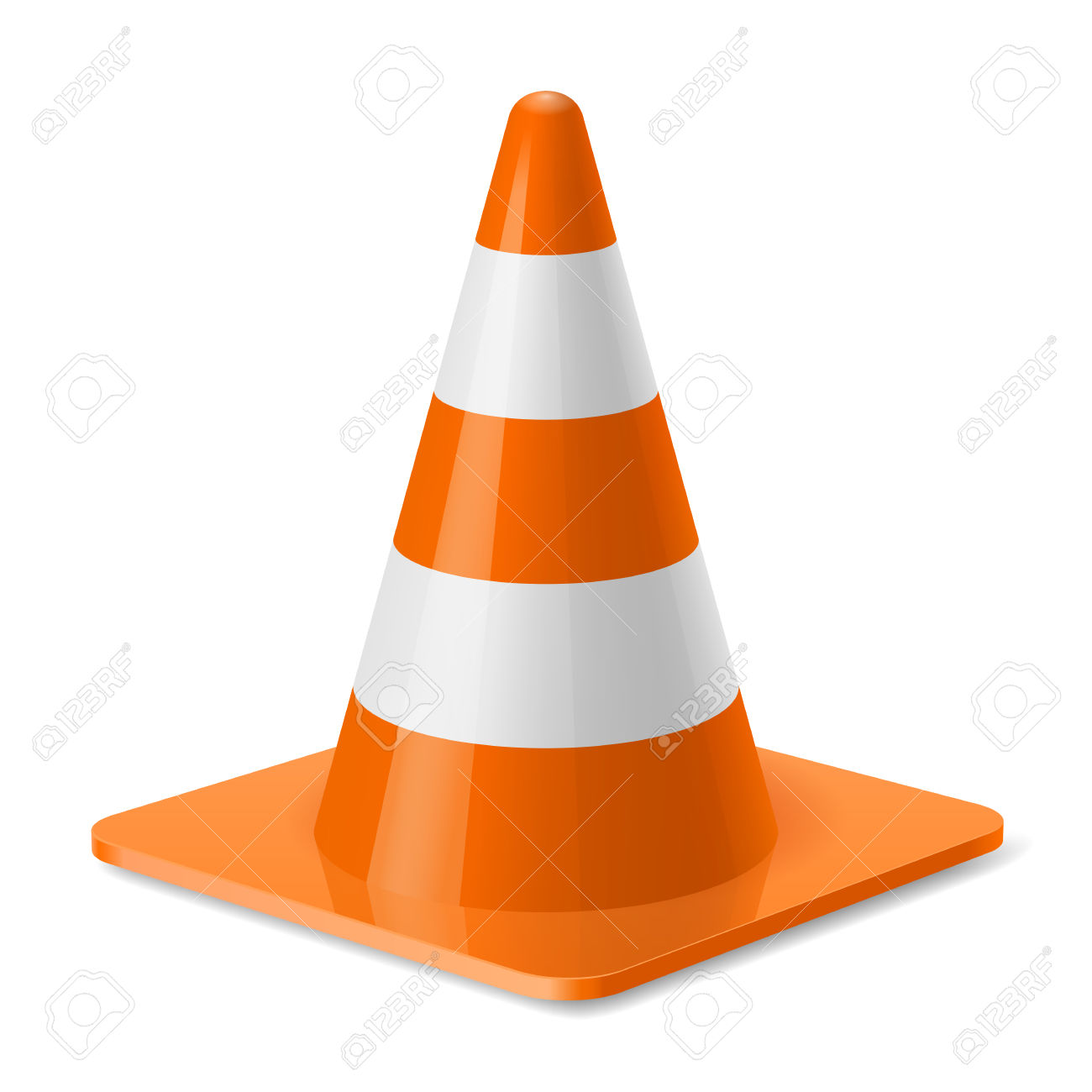 White And Orange Traffic Pylon. Safety Sign Used To Prevent.