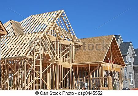 Stock Photo of house construction.