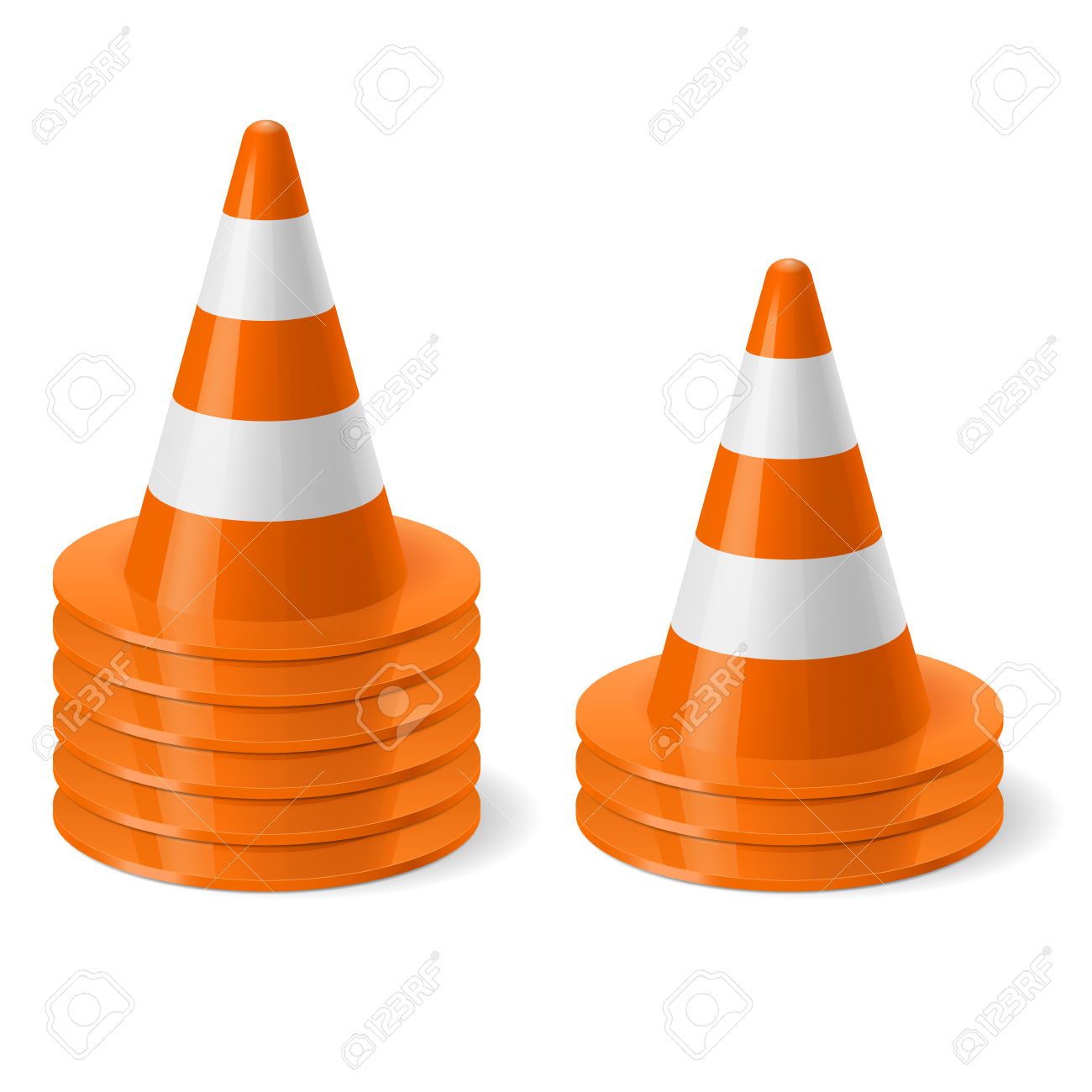 Piles Of Of Traffic Cone. Safety Sign Used To Prevent Accidents.