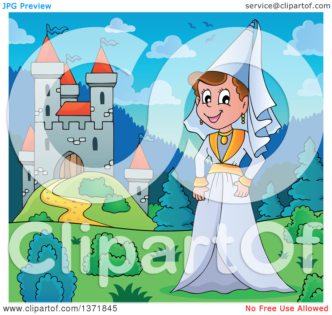 Clipart of a Cartoon Happy Medieval Princess by a Castle During.