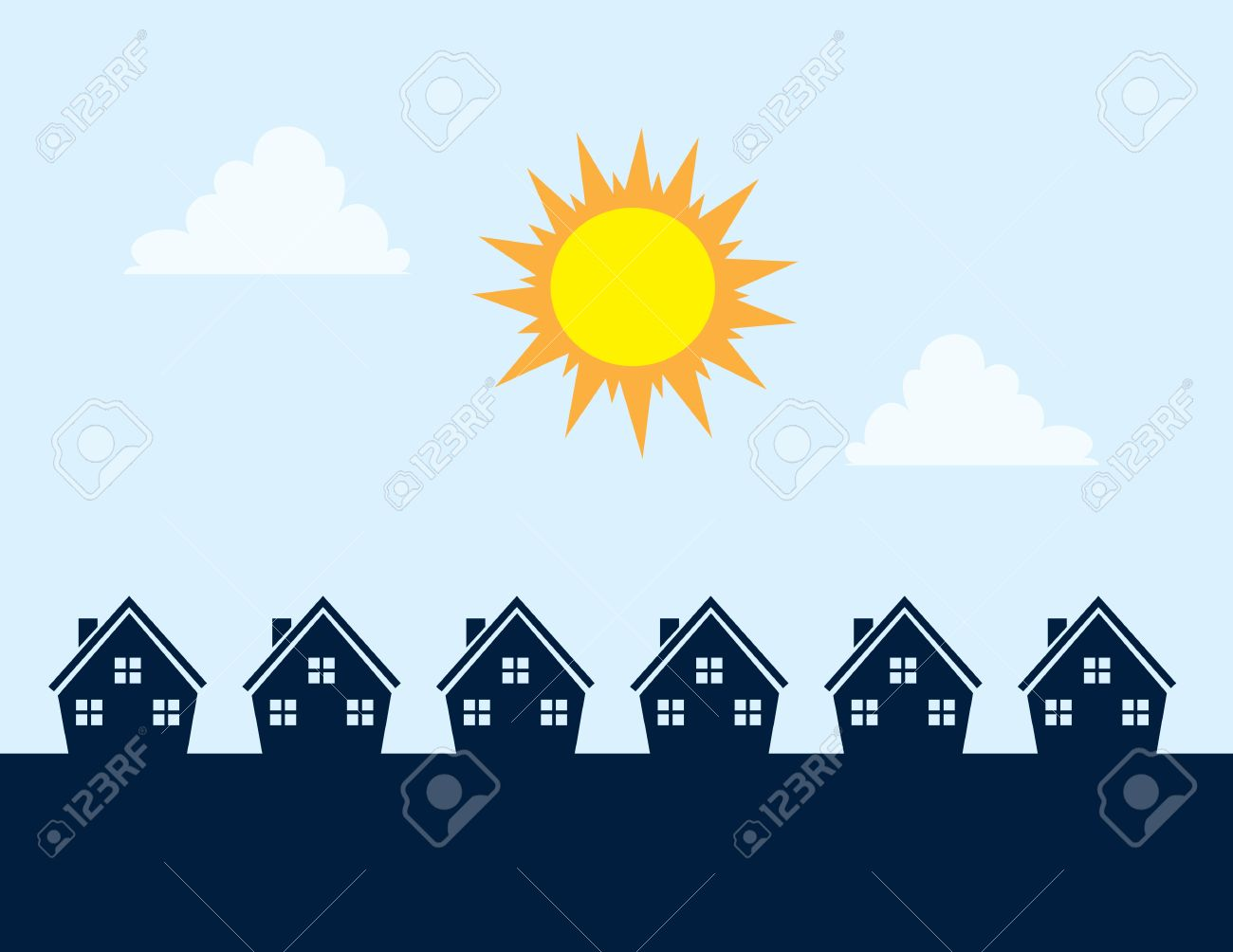 Houses Silhouettes During The Day With Sun Royalty Free Cliparts.