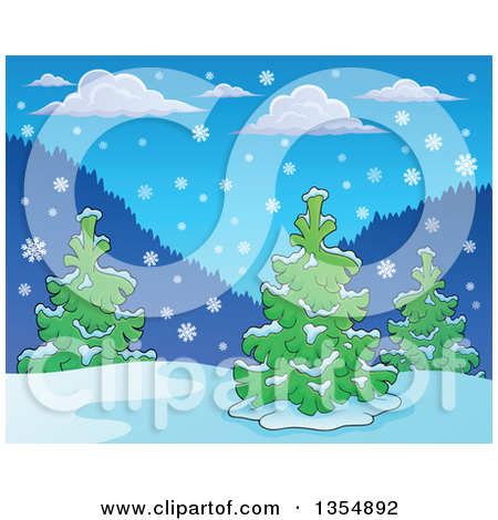 Clipart of a Background of Snow Falling over Evergreen Trees.