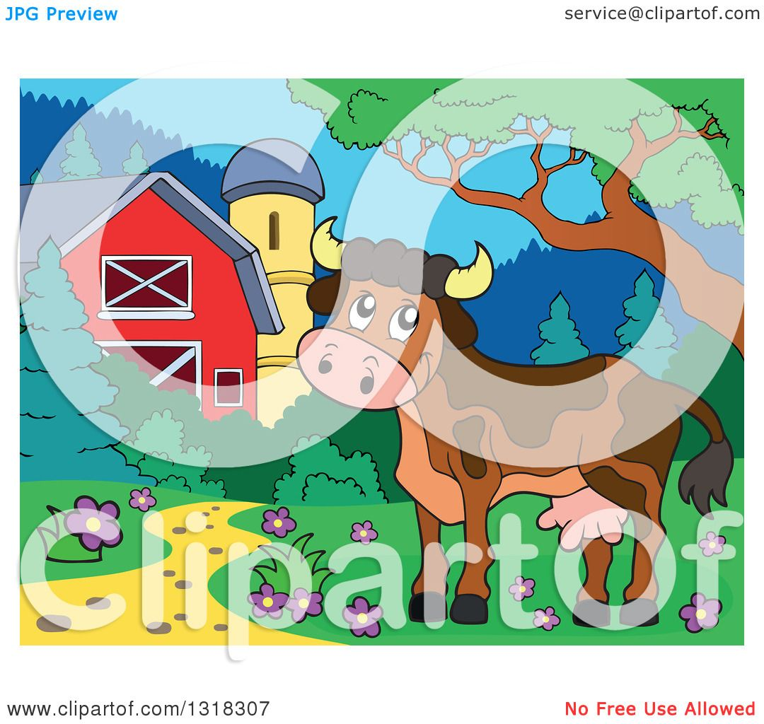Clipart of a Cartoon Brown Cow in a Yard by a Barn and Silo.