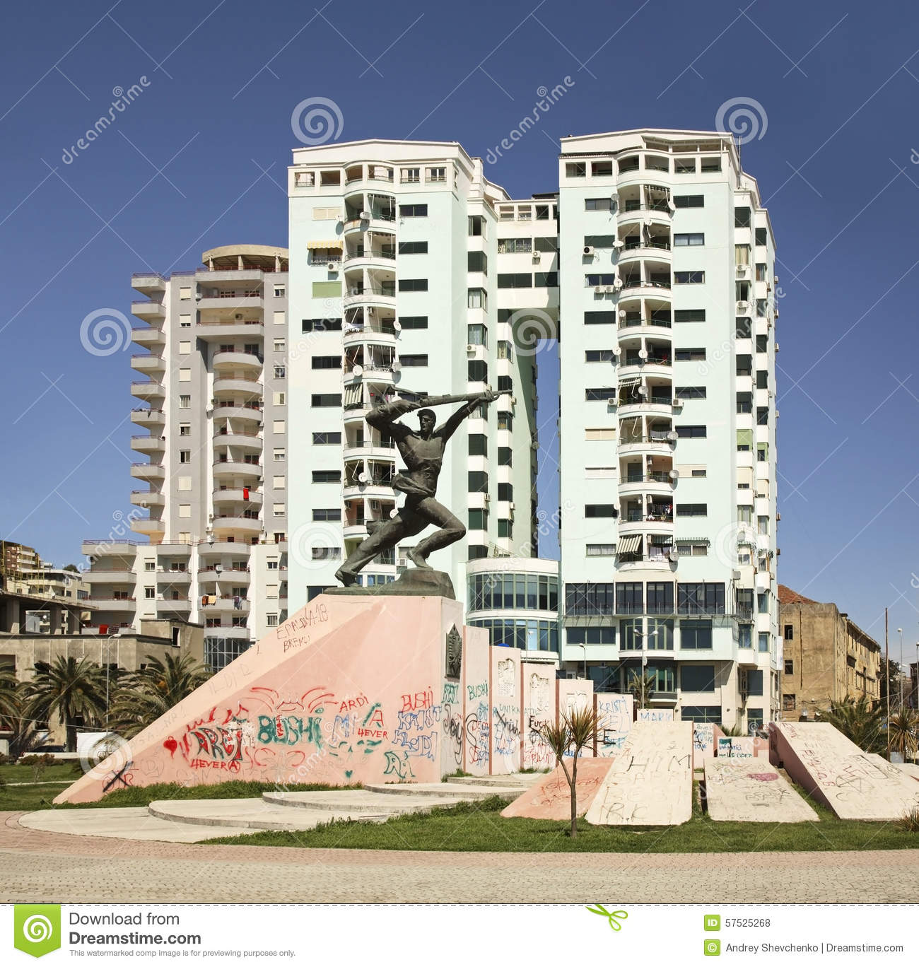 Monument To Unknown Soldier In Durres. Albania Stock Photo.