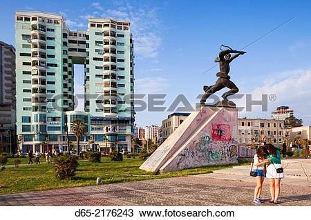 Stock Photo of Albania, Durres, beachfront promenade and Communist.