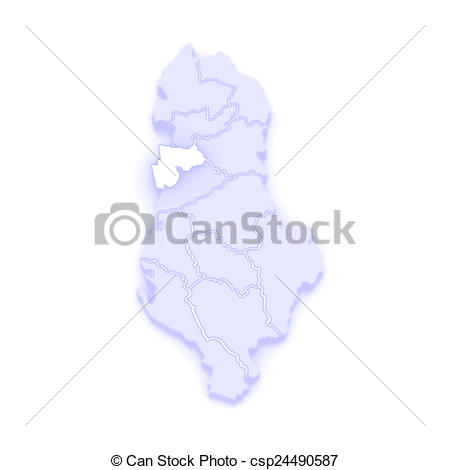 Stock Illustration of Map of Durres. Albania. 3d csp24490587.