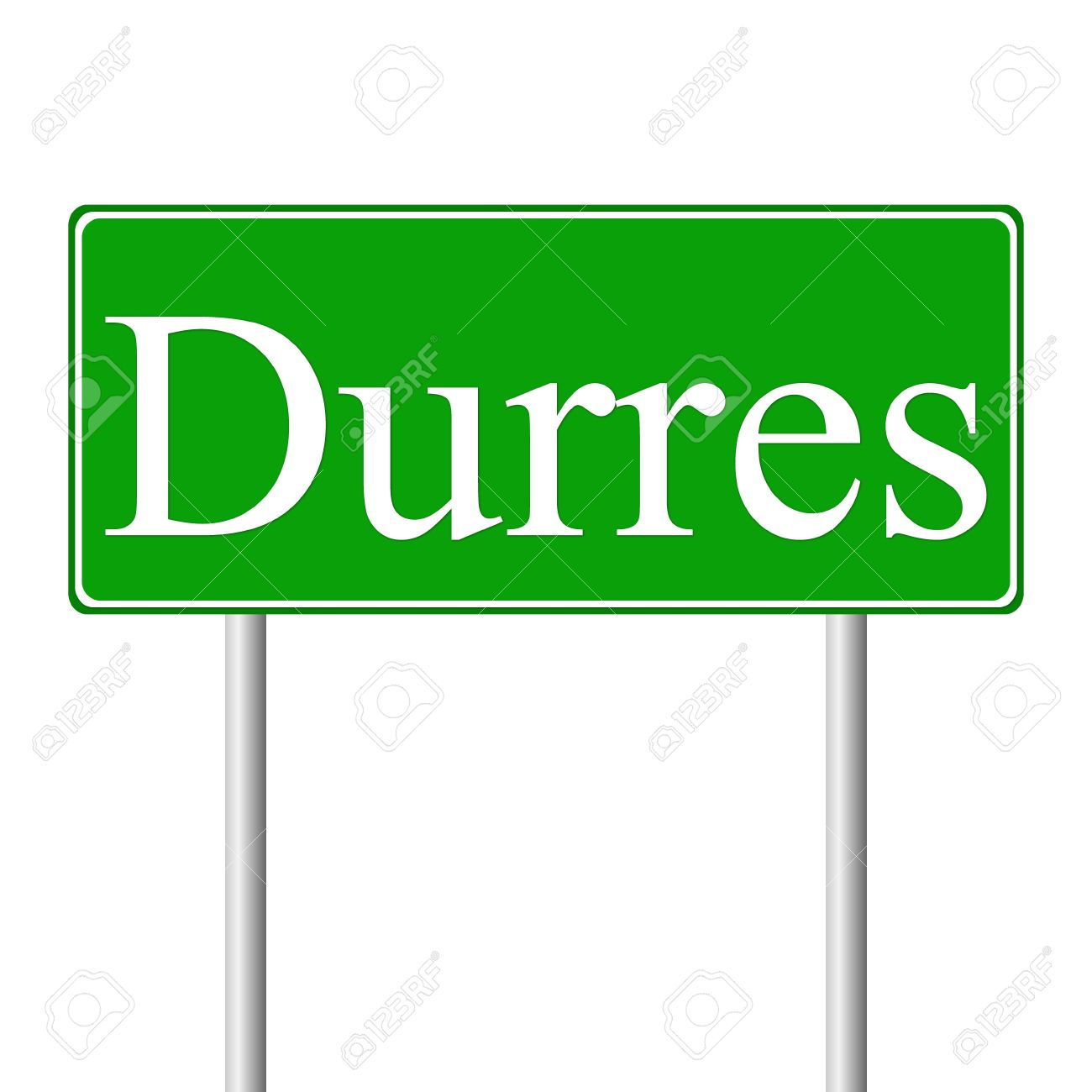 Durres Green Road Sign Isolated On White Background Royalty Free.