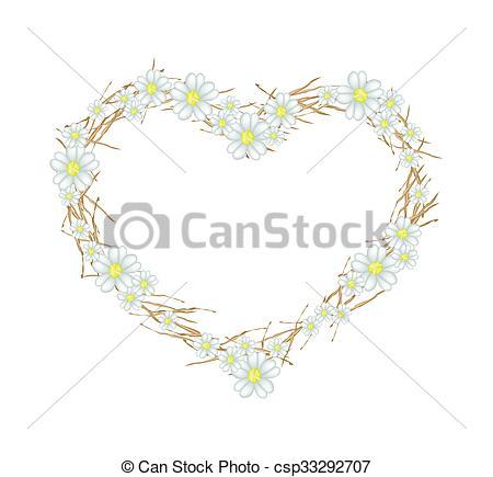 Stock Illustratie van hart, vorm, Bloemen, witte, Duizendblad.