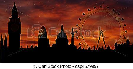 Stock Illustrations of London skyline at dusk.