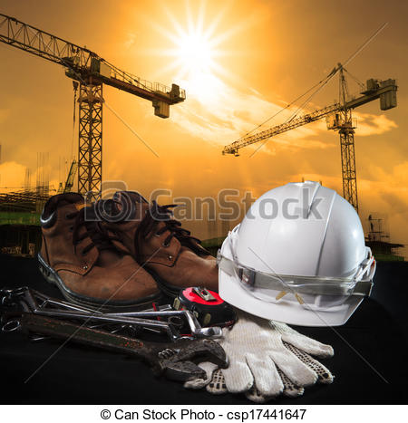Drawing of helmet and construction equipment with building and.